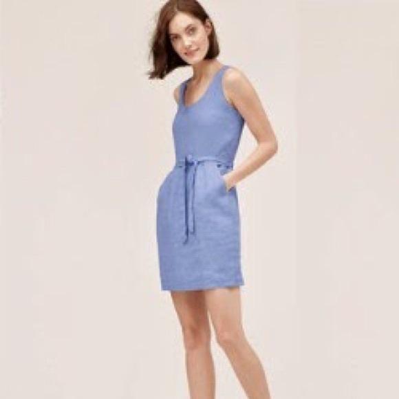 0ade7f6668 LOFT Dresses   Skirts - Ann Taylor Loft Blue Linen Cutout Summer Dress